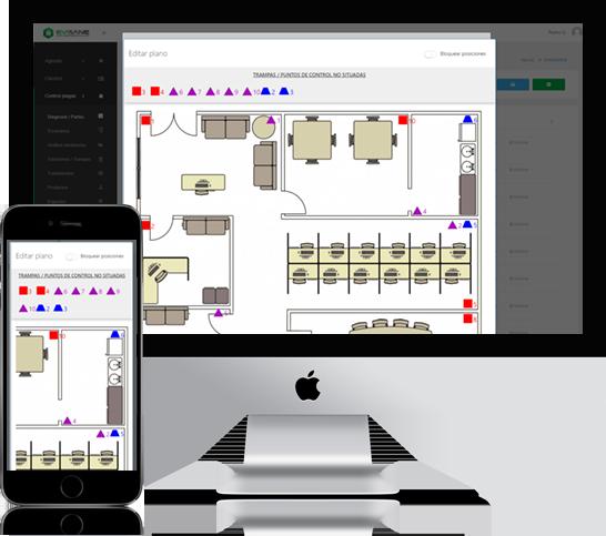 iMac y móvil planos y mapas con puntos de control - Software para empresas de control de plagas y sanidad ambiental en la nube